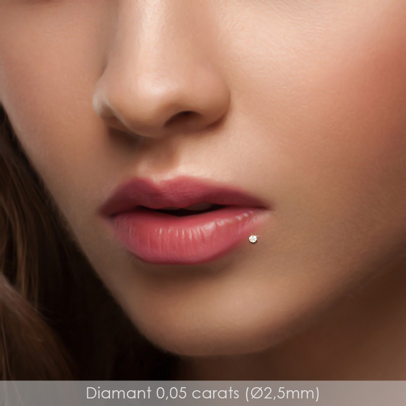 Piercing labret diamant et or jaune