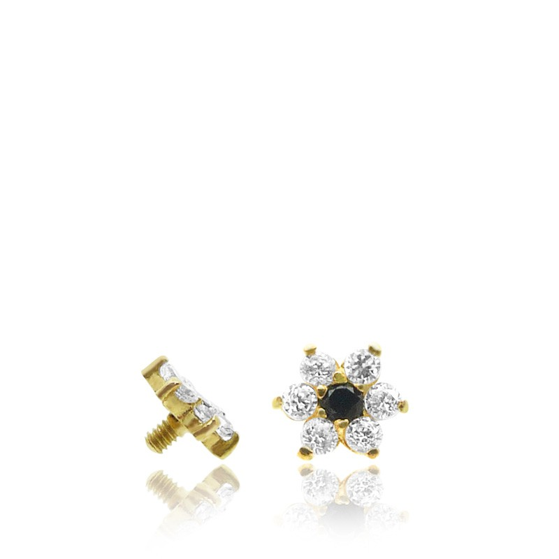 Piercing microdermal en or jaune avec fleur brillante