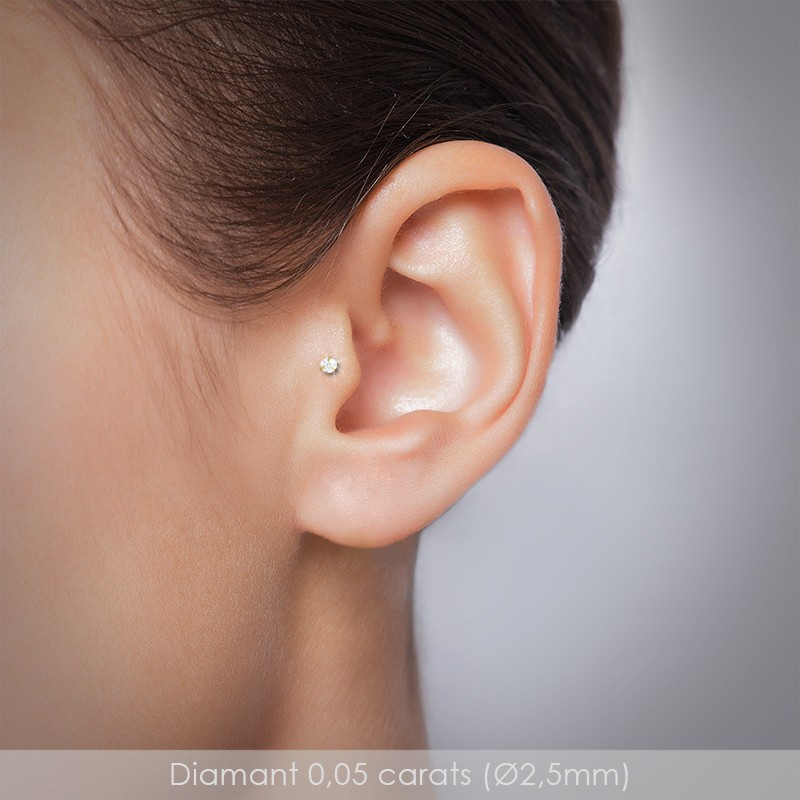Piercing tragus diamant et or jaune