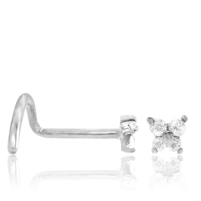 Piercing nez or blanc papillon