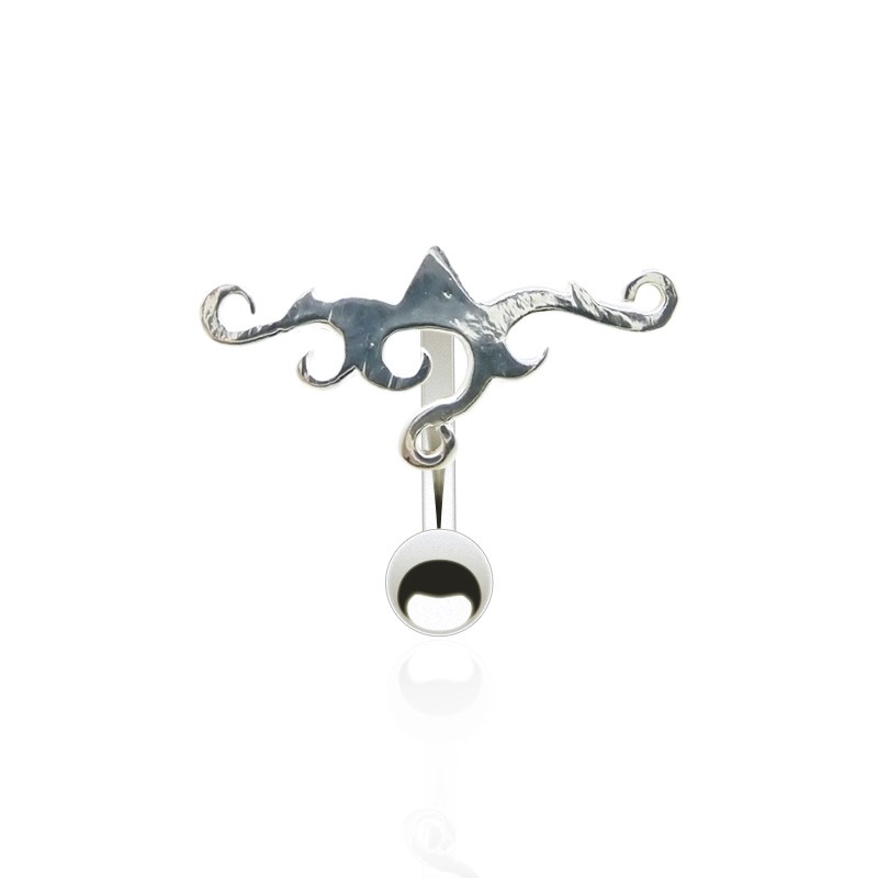 Piercing de nombril inversé en argent motif tribal