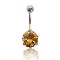 Piercing nombril brillant rond classique orange pale