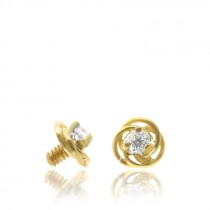 Microdermal en or jaune 18 carats et fleur brillante