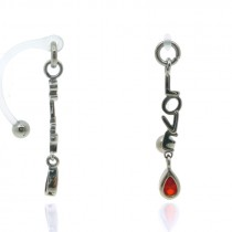 "Piercing intime ""love"" avec brillant rouge"